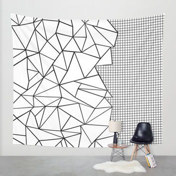 Abstraction Outline Grid on Side White Wall Tapestry by Project M