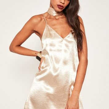 Missguided - Nude Satin Choker Neck Dress