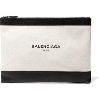 ONETOW balenciaga clip medium leather trimmed canvas pouch 2