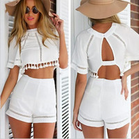 Sexy white short-sleeved (two-piece) KMS73DR