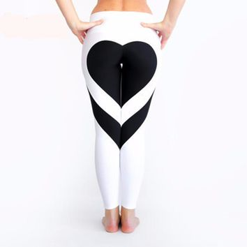 Heart Shaped Splice Legging Gym Pants