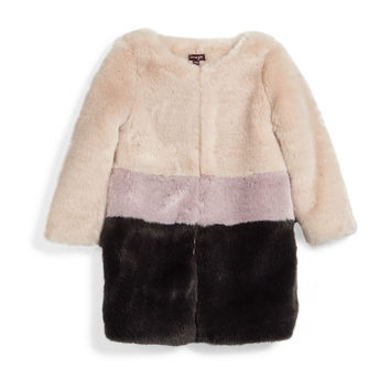Faux-Fur Colorblock Coat, Pearl, Size 8-14,