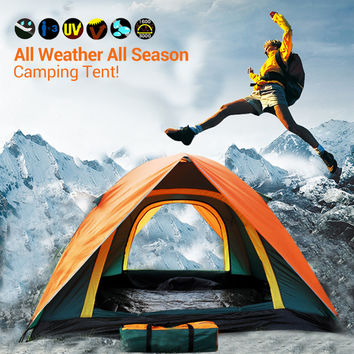 Top Brand Quality Double Layer 3 4 Person Rainproof Ourdoor Camping Tent for Hiking Fishing Hunting Adventure Picnic Party