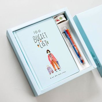 100 Bucket List Notebook Stationery Gift Box with Notebook, Ballpoint Pen, Washi Tape Cute Korean Stationery Gifts Set