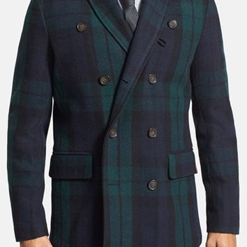Men's Ben Sherman Black Watch Plaid Shawl Collar Peacoat