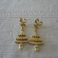 Vintage Christmas Bow Tree Gold Tone Post Pierced Earrings