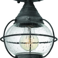 0-001047>Cape Cod 1-Light Outdoor Ceiling Light Aged Zinc