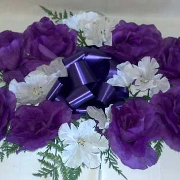Headstone Spray with Purple Silk Roses - 26 Inch