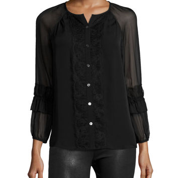Taylor Silk Button-Front Top, Black, Size:
