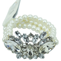 White Faux Pearl Multi-strand with Crystal Flower Acceent Bracelet