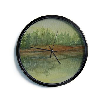 "Cyndi Steen ""Green And Gold Reflections"" Green Watercolor Modern Wall Clock"