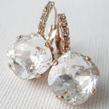 Rose Gold Crystal Drop Earrings Wedding Bridal Bridesmaid Earrings Swarovski Elements Vintage Style Old Hollywood Glam