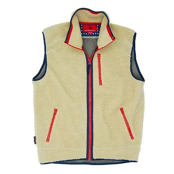 Old Glory Sherpa Vest in Cream by Southern Proper - FINAL SALE