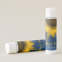 Yellow Sunflower on Blue Wedding Favor Lip Balm