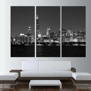 LARGE wall ART Canvas Print - chicago Skyline Canvas Art - Extra Large Skyline chicago Wall Art Print, city skyline fine art print  t273