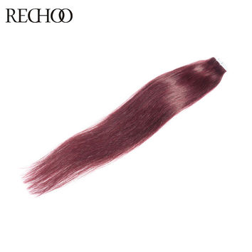 Rechoo High Quality  Non-Remy Tape Hair Extensions 20pcs/lot Tape in Human Hair Extension Straight Brazilian Hair Skin Weft Hair