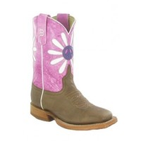 Anderson Bean Cowboy Boots Antique Goat Flower With Peace Sign Kids Cowboy Boots
