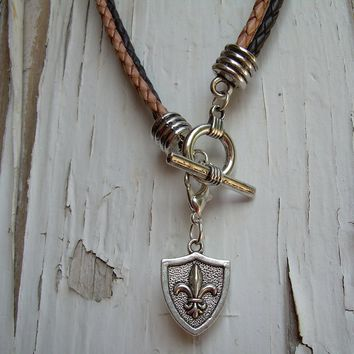 Mens  Leather Necklace - Double Strand Silver /Brown Braid- Natural Braid With Free Lobster Clasp Pendant, Mens Jewelry
