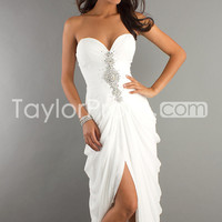 US $133.99 A Line Strapless Floor Length Sweetheart Chiffon Prom Dresses