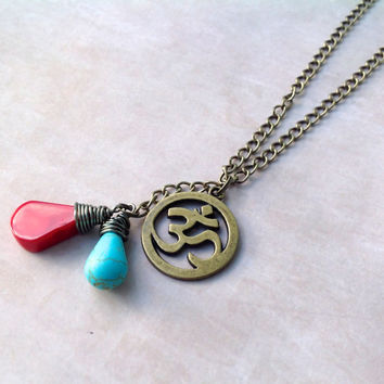 Coral & Turquoise OM Necklace | Aum Ohm Charm | Antique Gold Chain | Tibetan Inspired Necklace | Om Pendant | Yoga Meditation