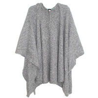 Echo Boucle Hooded Ruana Wrap in Grey | Les Pommettes