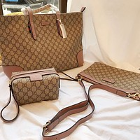 Gucci Popular Women Leather Tote Handbag Shoulder Bag Three Piece Set