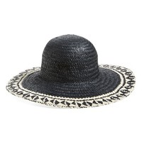 Women's T+C by Theodora & Callum Chevron Floppy Straw Hat