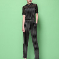 Black Stripes Acetate Women's Jumpsuit