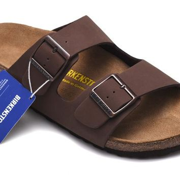 Men's and Women's BIRKENSTOCK sandals Arizona Birko-Flor Brown 632632288-001