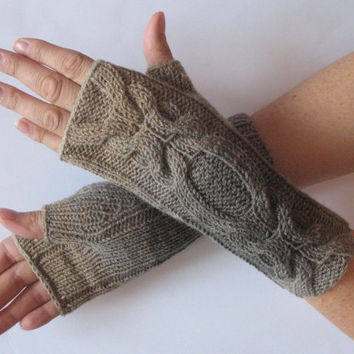 Fingerless Gloves Beige Brown Gray Long Mittens Arm Warmers Acrylic Wool