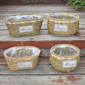 Willow flower pot planter flower arrangement flower basket hand woven baskets for home garden yard patio