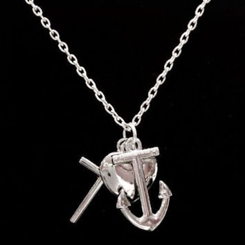 Multi Charm Faith Cross Hope Anchor Love Heart Christian Bible God Necklace