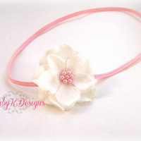 Newborn Headband / Baby Headband / Infant Headband / Girls Headband / Pink n White Flower Skinny Elastic