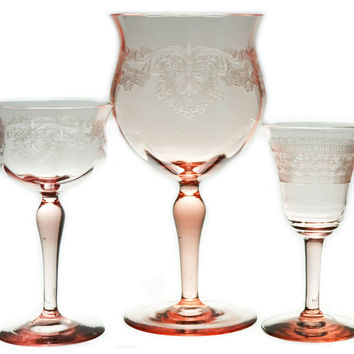 6 Pink Wine Port and Sherry Glasses Vintage Czech