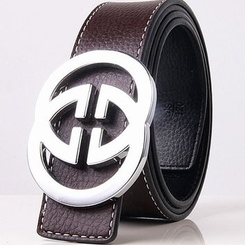 GUCCI 2 G Woman Fashion Smooth Buckle Belt Leather Belt-1