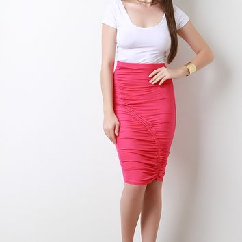 High Waisted Asymmetrical Cinched Midi Skirt