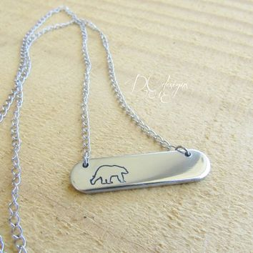 Polar Bear, Nature Jewelry, Animal Jewelry, Engraved Necklace, Personalized Bar Necklace, Name Necklace, Silver Bar Necklace, Gifts for Her