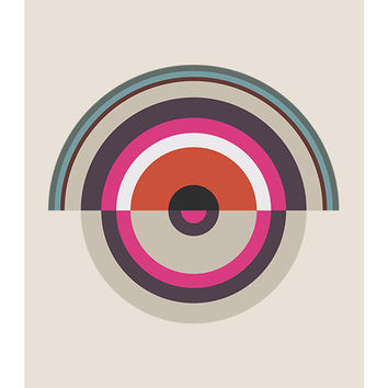 "Original Art Print, ""Around in Circles 001,"" 11x14, Geometric, Target, Abstract, Pink, Red, White"