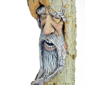 Wood Spirit Wood Carving, Wizard Sculpture in Cottonwood Bark, Hand Carved in Ohio by Josh Carte, Unique OOAK Wood Gift, Log Home Decor, Art