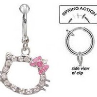 Fake Belly Navel Non Clip on Cz Hello Kitty Head w/ Pink bow dangle Ring