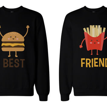 Burger and Fries BFF Sweatshirts Besties Matching Crewneck Pullover Fleece Sweaters