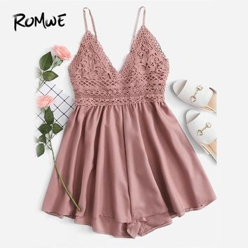 ROMWE  Contrast Lace Knot Back Cami Romper Women Pink V Neck Straps Sleeveless Playsuit 2018 Summer Casual Wide Leg Romper