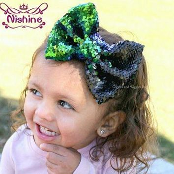 "Nishine 10pcs/lot 5"" Kids Girls Two Toned Reversible Sparkle Sequin Bow on Clips Mermaid Flip Bow Rainbow Color Birthday Gift"
