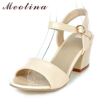 Meotina Women Sandals  Summer Shoes Sandals Size 9 10 Open Toe Ladies Chunky High Heels Sandals White Pink Green Shoes 34-43
