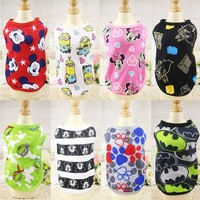 Fashion Pet Dog Clothes Soft Summer Cotton Shirts T shirt Cat Vests Cartoon Costume Clothing for Small Pets Chihuahua -10 styles