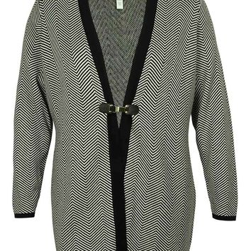 Charter Club Women's Chevron Print Duster Cardigan Sweater (L, Deep Black)