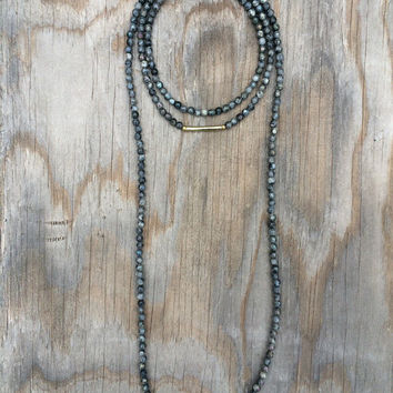 Long Beaded Double Wrap Choker Collar Necklace with Faceted Iridescent Black Grey Labradorite Beads and Gold Tube