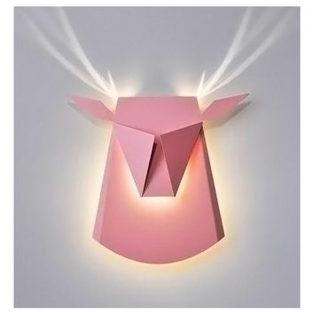 Deer head home lighting outdoor lighting wall lamp modern plated industrial wall lights led for Living room dining room