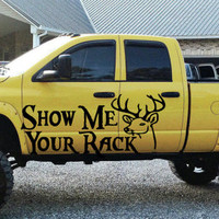Show me your Rack Deer Hunting Truck Car vinyl graphics SUV will fit any car tr017