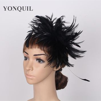 Free shipping multiple colors high quality feather fascinator hats very nice bridal hair accessoires ladies cocktail hats FS04